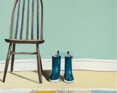Chair and Wellies Rain Boots Print of an Oil Painting 8x10 - Friends - michelemaule