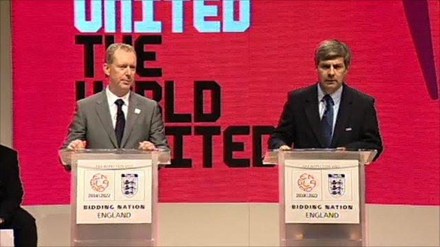 Chief executive of England's 2018 World Cup bid Andy Anson and Fifa bid inspection leader Harold Mayne-Nicholls