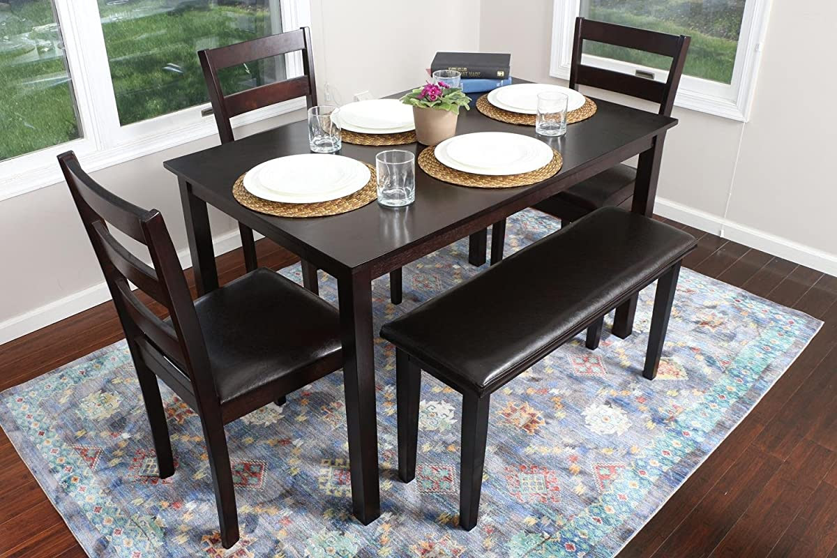 4 Person  5 Piece Kitchen Dining Table Set  1 Table, 3 Leather Chairs \u0026 1 Bench Espresso Brown