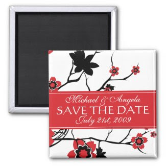 Red Cherry Blossom Sakura Save the Date zazzle_magnet