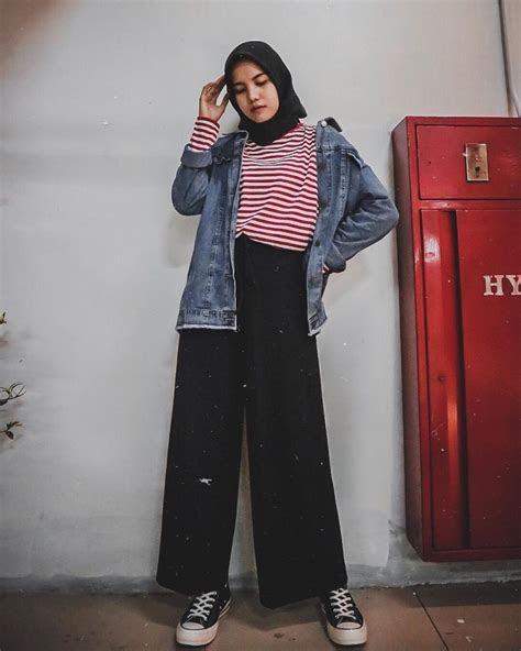 santai  gak ribet inspirasi  gaya ootd kasual hijab