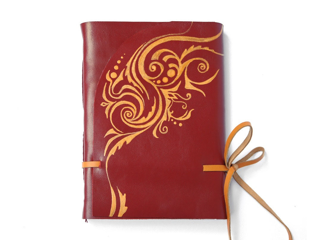 Red Leather Journal, Art Nouveau Diary, Elegant Notebook in Red and Gold - Royal - Baghy