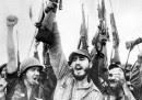 Cuba: Fidel Castro with revolutionary comrades celebrating victory over Batista, 1959