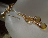 14 Karat Gold Filled, AAA Beer Quartz-Sun Goddess Earrings