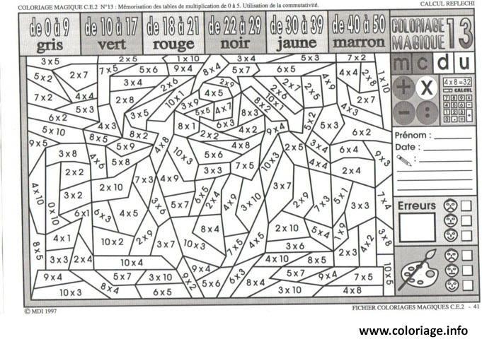 【Le plus recherché】 Coloriage Magique Ce2 Multiplication