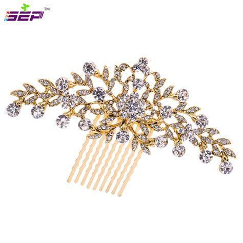 Vintage Gold Plated Flower Hair Comb for Wedding Hair