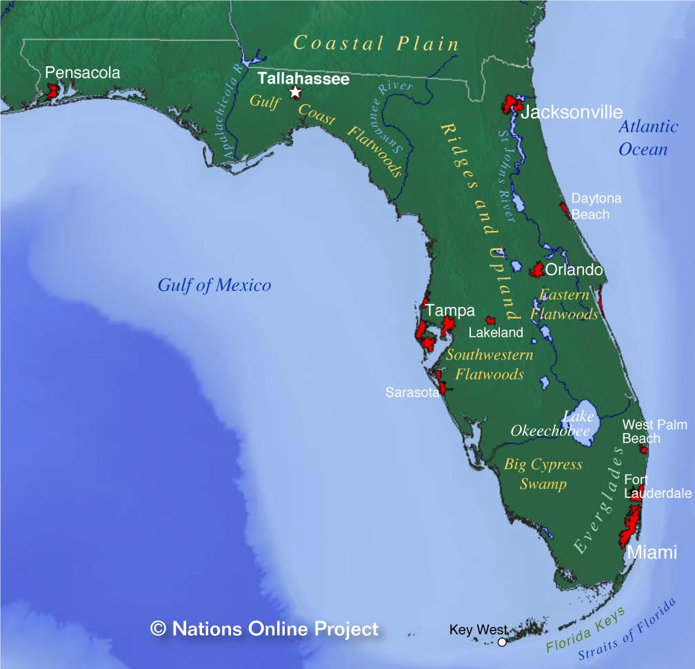 Reference Maps Of Florida Usa Nations Online Project