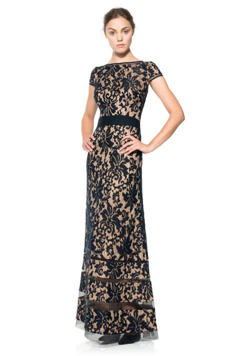 embroidered lace cap sleeve gown  navy nude tadashi