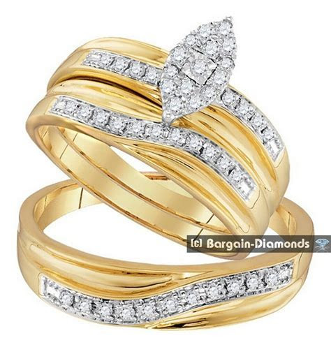 diamond .33 carat 3 ring bridal 10K gold engagement
