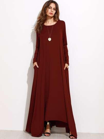Burgundy Long Sleeve Shift Maxi Dress