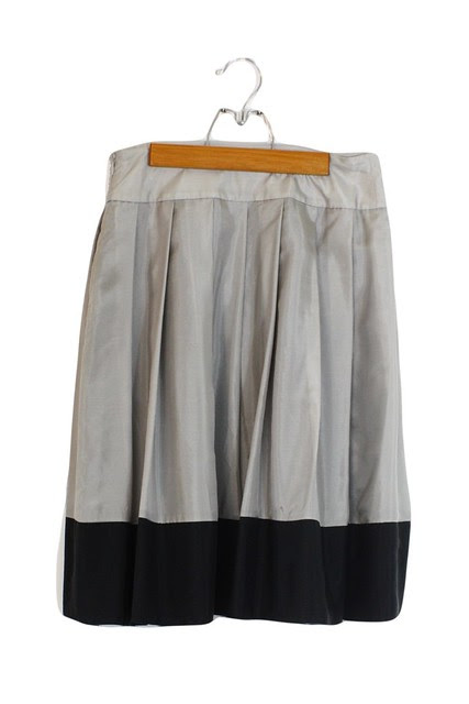express silk color block skirt