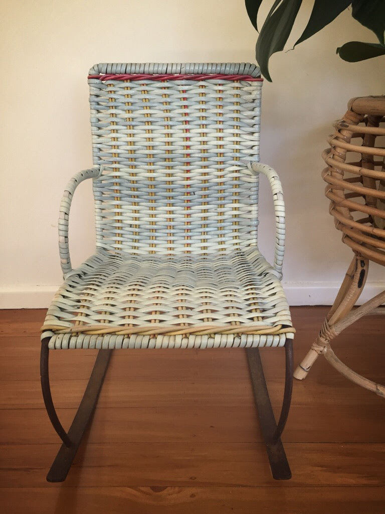 Childs Baby Blue Wicker Rocking Chair Deborah Sweeney