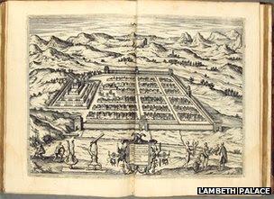 A map of the city of Cusco, in Theodor de Bry's America. (Frankfurt, 1590)