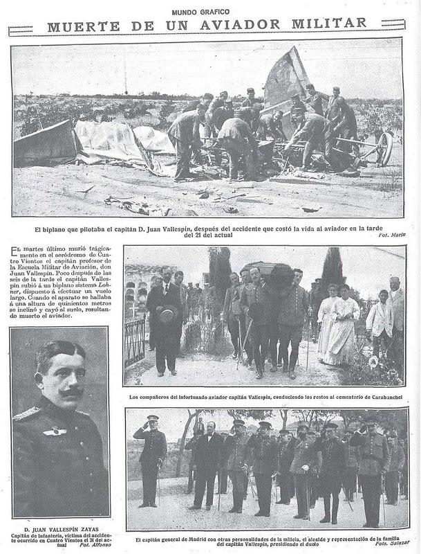 Noticia del accidente mortal del capitán Juan Vallespín Zayas en agosto de 1917 en la revista Mundo Gráfico