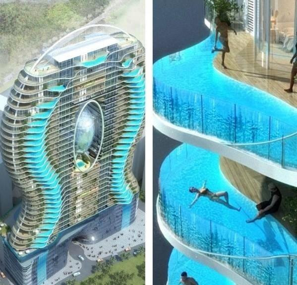 Zwembalkons in Mumbai. Each room has its own pool. - Imgur