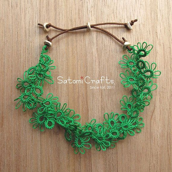 Bracelet Tatting Jewelry_Leaves_Single picot 2 by satomicrafts, $22.00