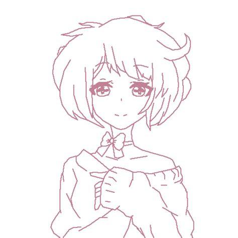 pixilart anime girl lineart  arttraces