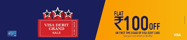 Get Rs 100 off on first time usage & Rs 50 off on the second time usage of VISA debit cards at Bookmyshow