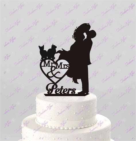 Wedding Cake Topper Silhouette Couple Mr & Mrs