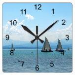 Sailing Away Square Wall Clocks