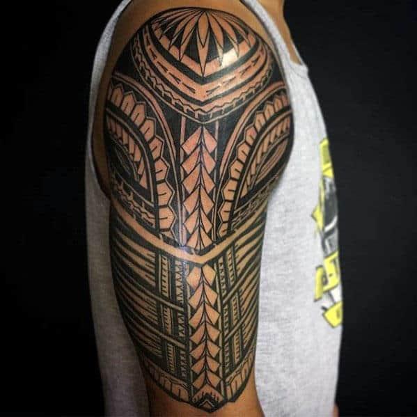 50 Polynesian Half Sleeve Tattoo Designs For Men Tribal Ideas