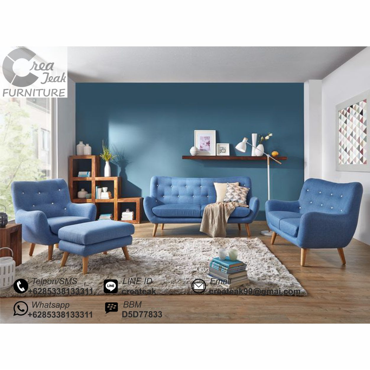 Set Sofa Ruang Tamu Retro Minimalis Selena CREATEAK FURNITURE