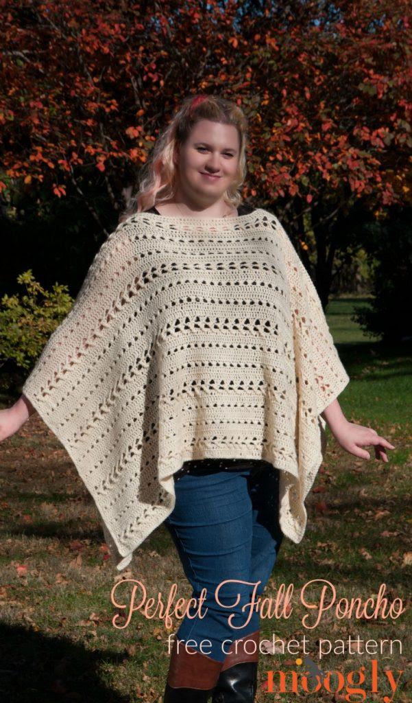 Otoño Perfecto Poncho - patrón de crochet libre en Mooglyblog.com