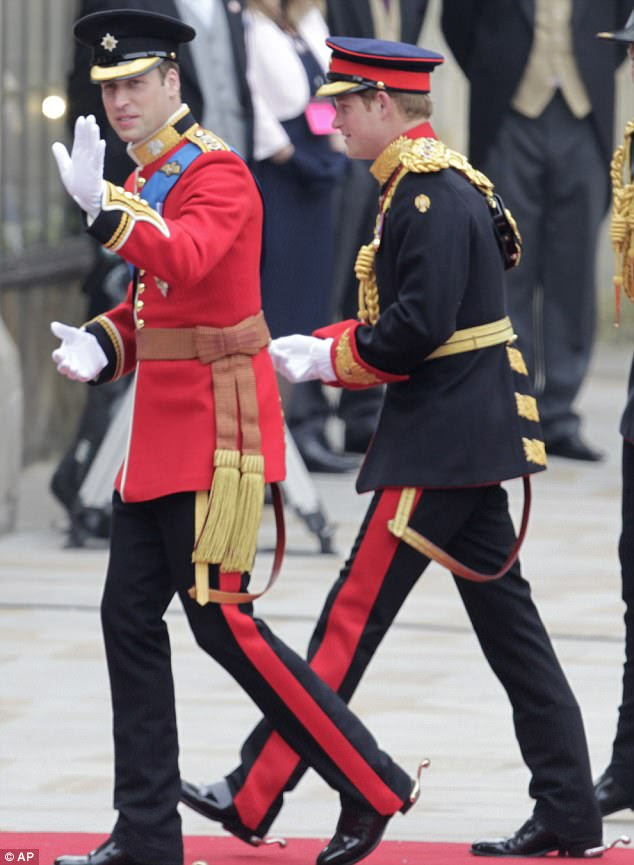 He's here: Prince William, left, arrives at Westminster Abbey next to his proud younger brother and best man Harry with two billion people watching