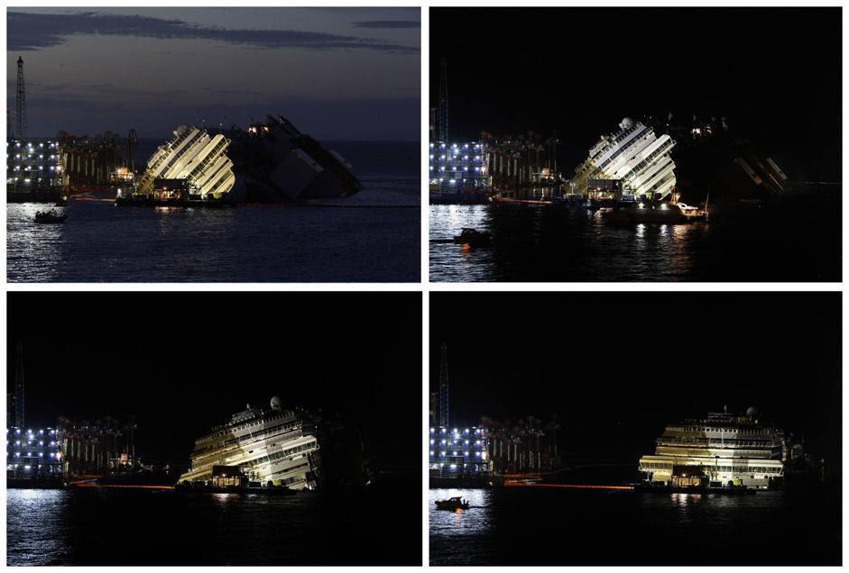 Dopo quasi 19 ore di lavoro, la Concordia è stata finalmente raddrizzata, alle 4 di mattina  (Reuters)