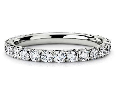 French Pavé Diamond Eternity Ring in 14k White Gold (1 ct