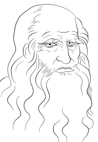 Coloriage Autoportrait De Léonard De Vinci Coloriages à Imprimer
