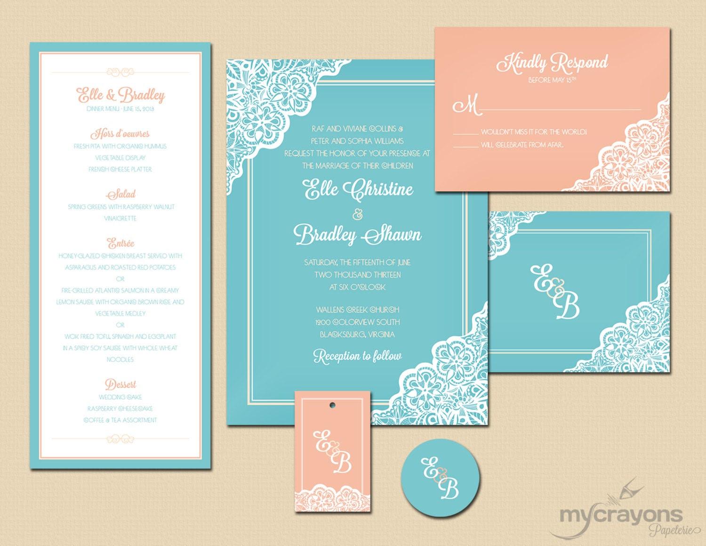 Retro Lace Daisy Wedding Invitation // DIY Printable // Turquoise Aqua and Coral Peach