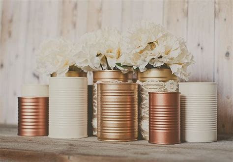 3 Painted tins cans. Centerpieces. Steampunk by