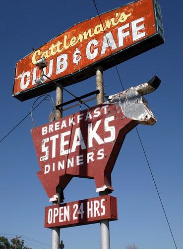 cattleman's club & café neon sign