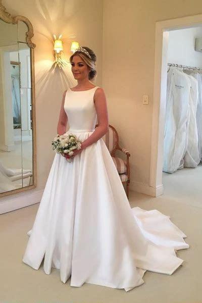 Bateau Neckline A line Satin Simple Wedding Dresses 2018
