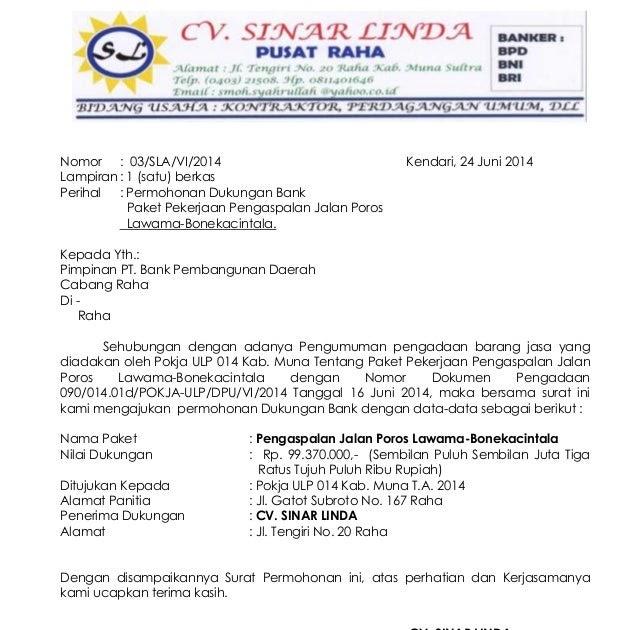 Contoh Surat Dukungan Bank Untuk Lelang - Surat 35