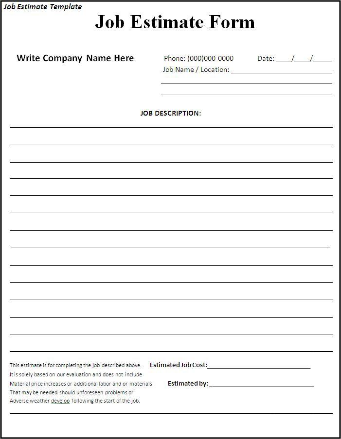 construction estimate forms