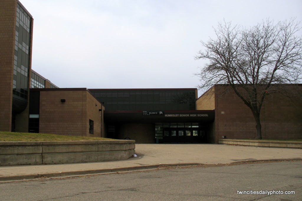 This is the main entrance to St Paul Humboldt Senior High School on the West Side neighborhood.