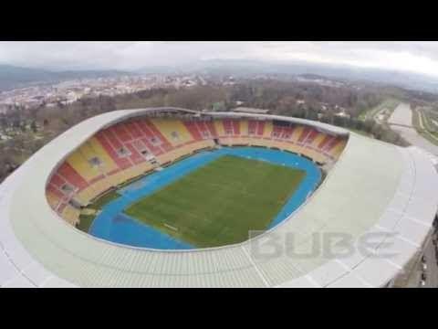 Flug über Nationale Arena Filip II Macedon in Skopje