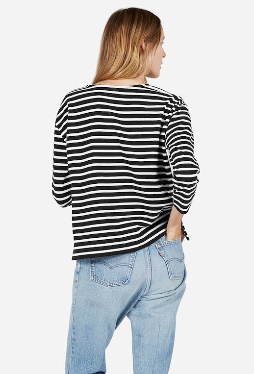 Le Fashion Blog Black And White Striped Tee Light Wash Levis Jeans Via Everlane