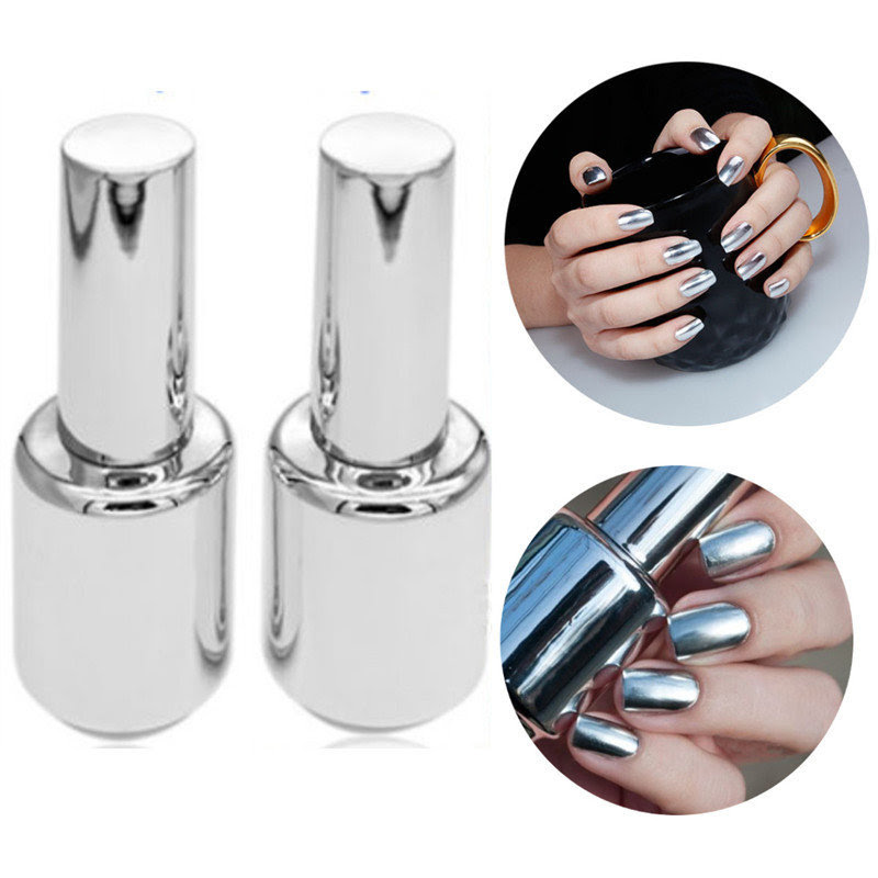 2Pcs 15ML Metallic Mirror Effect Metal Silver Nail Art Polish Varnish & 15ML Top Coat