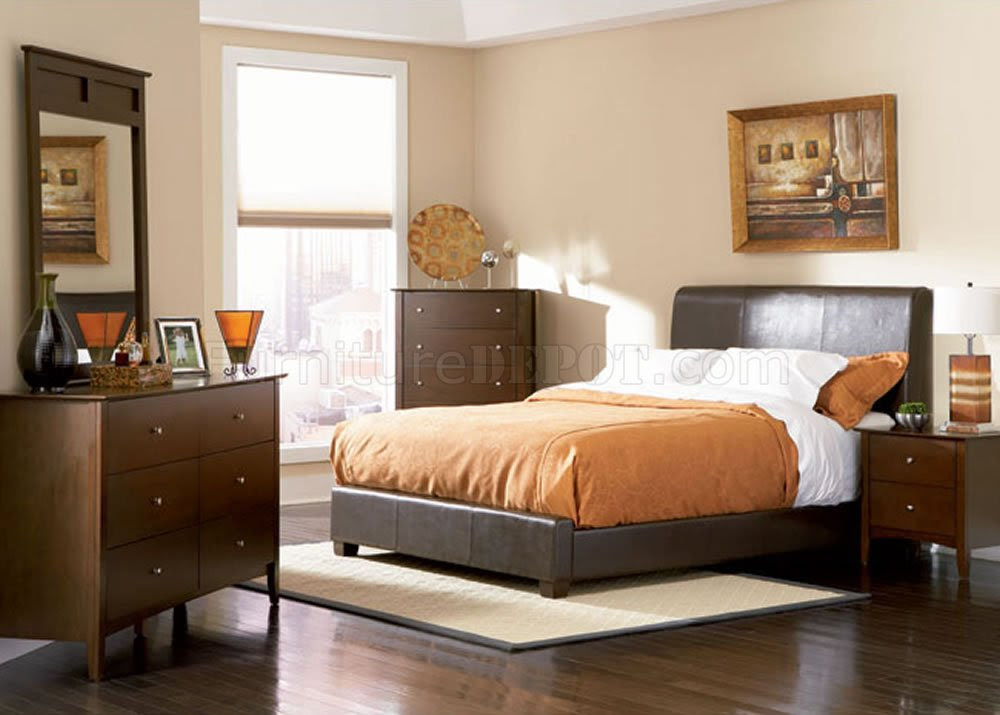 Chocolate Brown Contemporary Bedroom with Bycast Leather Bed