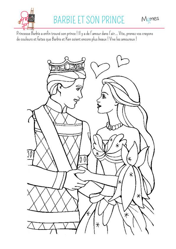 Coloriage Barbie Et Son Prince Momesnet