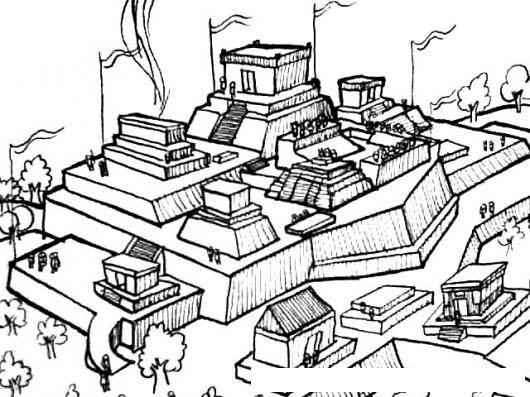 Ruinas Mayas Dibujo De Ciudad Maya Para Pintar Y Colorear Ciudad