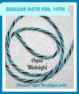 Image of Aqua Midnight Trendy Twine {Aqua, White, and Black Bakers Twine}