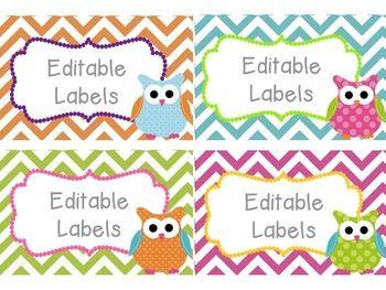 Editable Owl Labels Mega Set | Owl labels and Owl