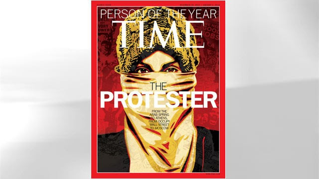 "PHOTO: This image released by Time Magazine shows the Person of the Year issue featuring ""The Protester."", Dec. 14, 2011."