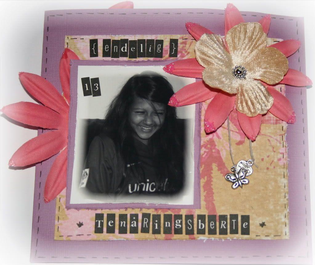Forsiden av kortet med bilde av ei fnisete tenåringsjente :)