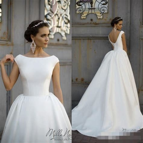 Simple Style 2016 White Wedding Dresses Jewel Neck Cap