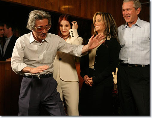The former Japanese Prime Minister Junichiro Koizumi wore a pair of Elvis Presley's sunglasses which were given to him as a gift. Koizumi is a huge Elvis buff and he even got to do his Elvis impersonation for Priscilla, Lisa Marie, second from right, and President Bush, right, as he and Bush toured the late singer's home in Memphis, Tenn. in 2006. The Bush-Koizumi tour through the Memphis mansion wrapped up two days of consultations between the staunch allies.